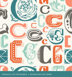 Seamless vintage pattern of the letter C in retro colors