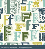 Seamless vintage pattern of the letter F in retro colors
