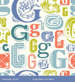 Seamless vintage pattern of the letter G in retro colors stock illustration