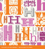 Seamless vintage pattern of the letter h in retro colors Royalty Free Stock Photo