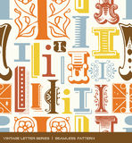 Seamless vintage pattern of the letter i in retro colors