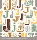 Seamless vintage pattern of the letter J in retro colors Royalty Free Stock Photos