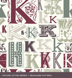Seamless vintage pattern of the letter K in retro colors
