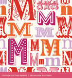 Seamless vintage pattern of the letter M in retro colors Stock Image