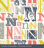 Seamless vintage pattern of the letter N in retro colors Royalty Free Stock Photos