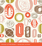 Seamless vintage pattern of the letter O in retro colors