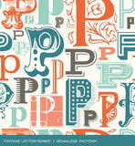Seamless vintage pattern of the letter P in retro colors