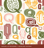 Seamless vintage pattern of the letter Q in retro colors