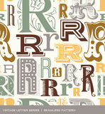 Seamless vintage pattern of the letter r in retro colors Royalty Free Stock Photography