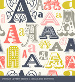 Seamless vintage pattern of the letter A in retro colors Royalty Free Stock Image