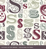Seamless vintage pattern of the letter s in retro colors Royalty Free Stock Images