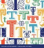 Seamless vintage pattern of the letter t in retro colors Stock Photography