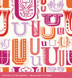 Seamless vintage pattern of the letter U in retro colors Stock Image