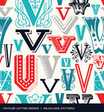 Seamless vintage pattern of the letter V in retro colors Royalty Free Stock Image