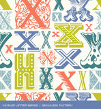 Seamless vintage pattern of the letter x in retro colors Royalty Free Stock Photography