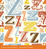 Seamless vintage pattern of the letter Z in retro colors Stock Photo