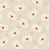 Seamless vintage pattern with love letters Royalty Free Stock Photography
