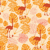 Seamless vintage pattern with ostrich and monstera lives Royalty Free Stock Photography