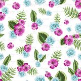 Seamless vintage pattern with painted flower stock illustration