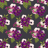 Seamless vintage pattern with painted flowers Stock Photos