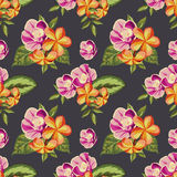 Seamless vintage pattern with painted flowers Royalty Free Stock Images