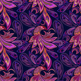 Seamless vintage pattern with paisley and birds. Vector background. Stock Image