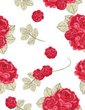 seamless vintage pattern with red roses stock illustration