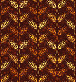 Seamless vintage pattern with rows of yellow and orange wheat. B Stock Images
