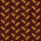 Seamless vintage pattern with rows from yellow wheat. Brown agri Stock Photo