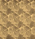 Seamless vintage pattern with sepia roses. Stock Images