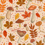 Seamless vintage pattern with set of mushrooms and autumn leaves. Retro hand drawn Royalty Free Stock Photo