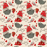 Seamless Vintage pattern with ship for Valentine design Royalty Free Stock Photography