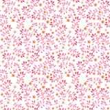 Seamless vintage pattern with watercolor pink leaves and retro tiny flowers. Watercolour stock illustration