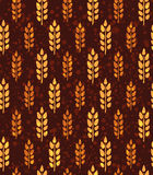 Seamless vintage pattern with wheat. Brown agricultural backgrou Stock Image