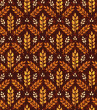 Seamless vintage pattern with wheat. Brown agricultural backgrou Stock Images