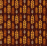 Seamless vintage pattern with wheat. Brown agricultural backgrou Royalty Free Stock Photo