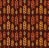 Seamless vintage pattern with wheat. Brown agricultural backgrou Royalty Free Stock Image