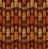 Seamless vintage pattern with wheat. Brown agricultural backgrou Stock Photo