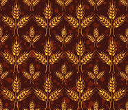 Seamless vintage pattern with wheat. Brown agricultural  Stock Photos