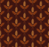Seamless vintage pattern with wheat. Brown agricultural  Royalty Free Stock Photography