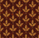 Seamless vintage pattern with wheat. Brown agricultural wallpape Stock Image