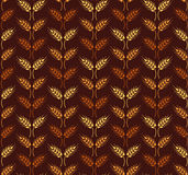 Seamless vintage pattern with wheat ears. Brown agricultural bac Stock Photo