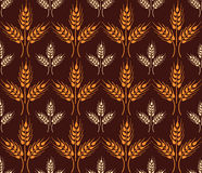 Seamless vintage pattern with wheat ears. Brown agricultural  Stock Image