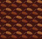Seamless vintage pattern with windbend wheat. Brown agricultural Stock Photography