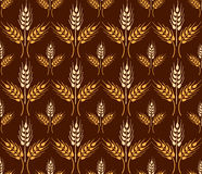 Seamless vintage pattern with yellow wheat ears. Brown agricultu Stock Photography
