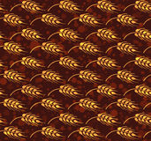 Seamless vintage pattern with yellow windbend wheat ears . Brown Stock Images