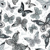 Seamless vintage patterned butterfly background Royalty Free Stock Image
