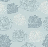 Seamless vintage peony pattern Royalty Free Stock Image