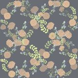 Seamless vintage  pink flower pattern. On violet background Royalty Free Stock Photos