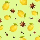 Seamless vintage polygon anise lemon pattern Stock Image